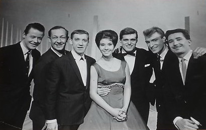 This photograph was taken after the show on December 29 1962. Pictured are : - Craig Douglas, Brian Matthew, Karl Denver, Helen, Ronnie Carroll, Frank Ifield and Kenny Ball