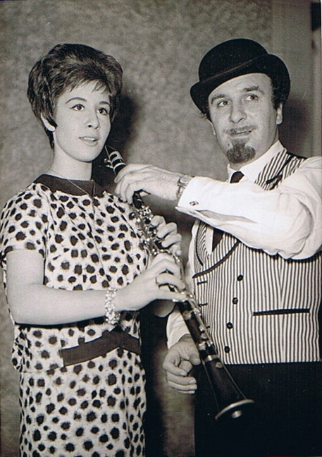 Helen and Acker Bilk during a break from filming at Shepperton Studios