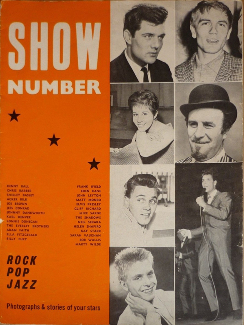 Full page pin-ups of Frank Ifield, Chubby Checker, Helen Shapiro, Eden Kane, Elvis. Double page spreads on Cliff and the Shadows (4 pics, text), the Kings of (trad) Jazz (4 pics, text), a feature page on Adam Faith (2 pics, text), and roughly quarter page photos of Pat Boone, Billy Fury, Marty Wilde, Matt Monro, Joe Brown, Jess Conrad, Sarah Vaughan, Shirley Bassey and Lonnie Donegan.