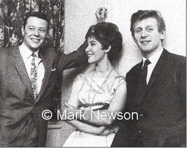 Craig  Douglas, Helen, and John Leyton during a break from filming at Shepperton Studios
